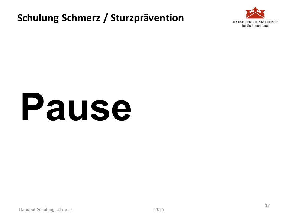 Schulung Schmerz / Sturzprävention