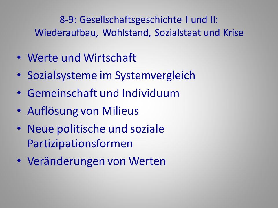Sozialsysteme im Systemvergleich Gemeinschaft und Individuum