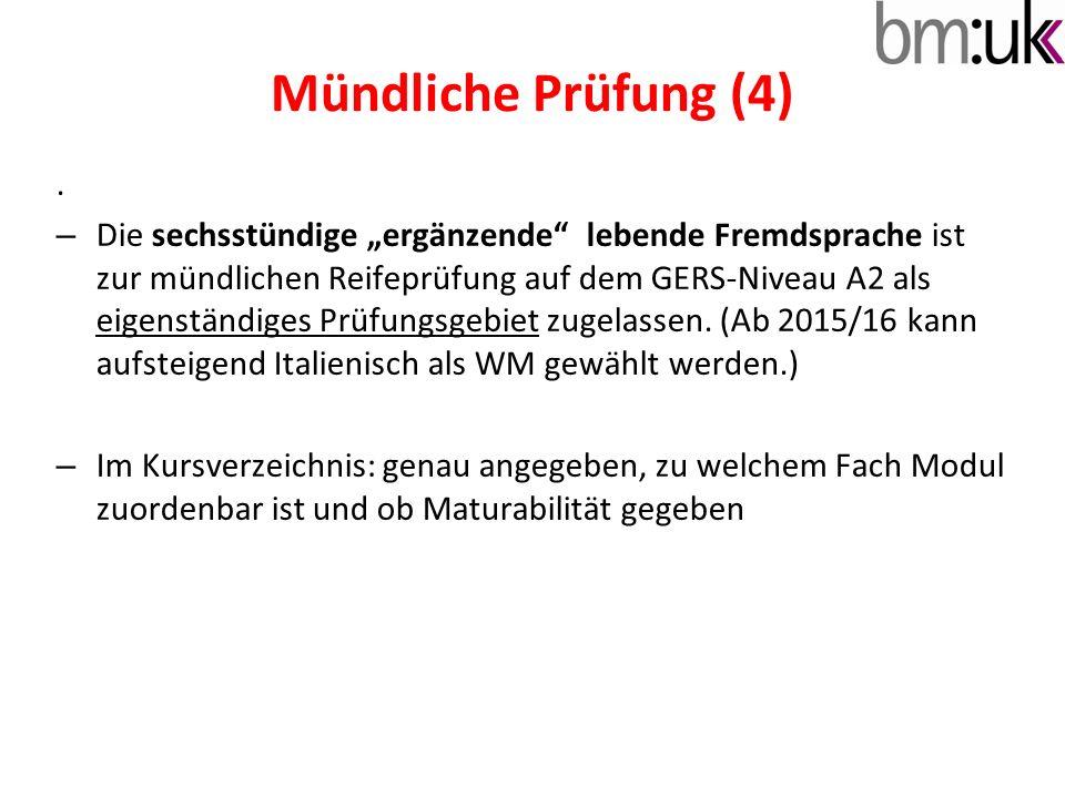 Mündliche Prüfung (4) .