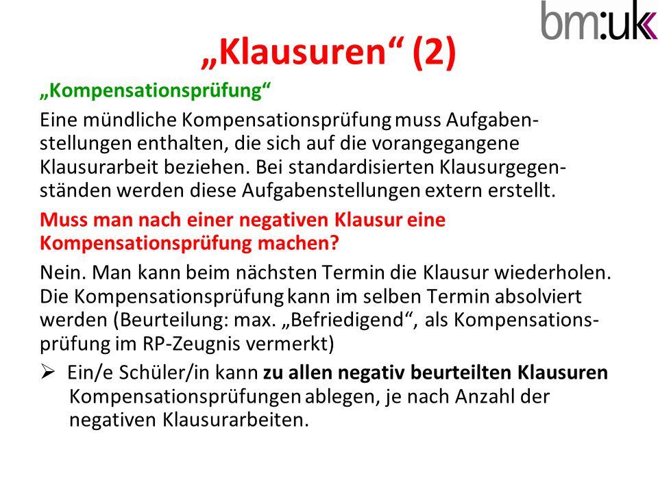 """Klausuren (2) ""Kompensationsprüfung"