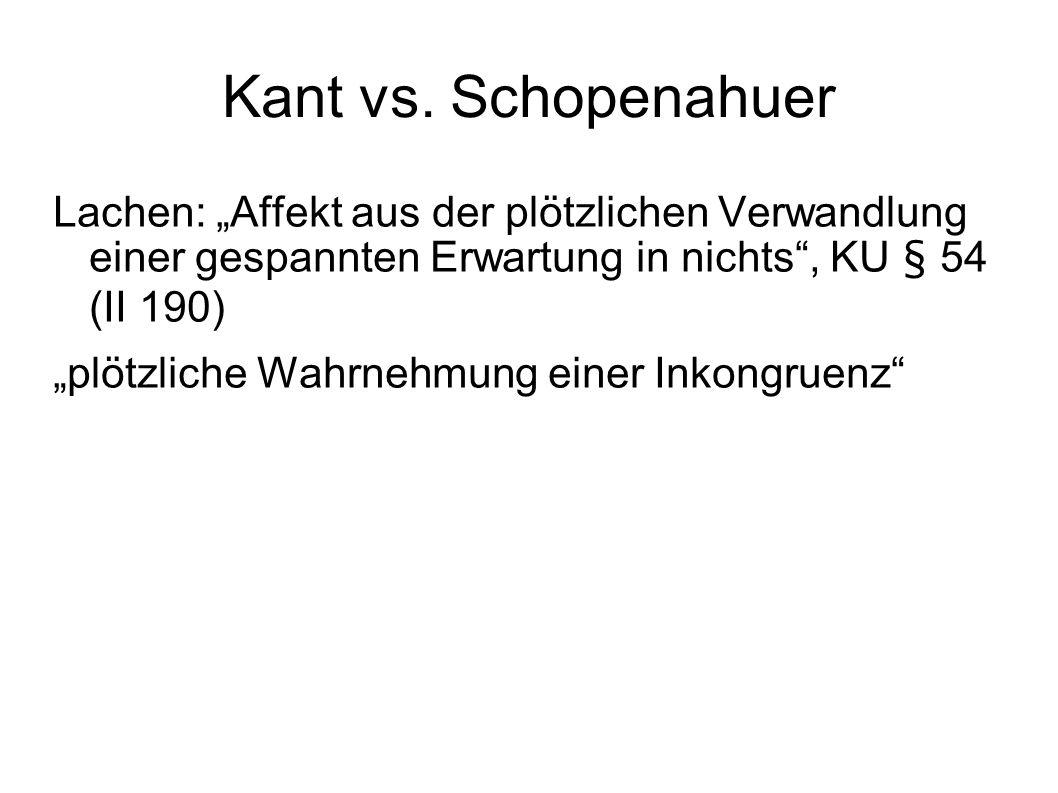 """Kant vs. Schopenahuer Lachen: """"Affekt aus der plötzlichen Verwandlung einer gespannten Erwartung in nichts , KU § 54 (II 190)"""