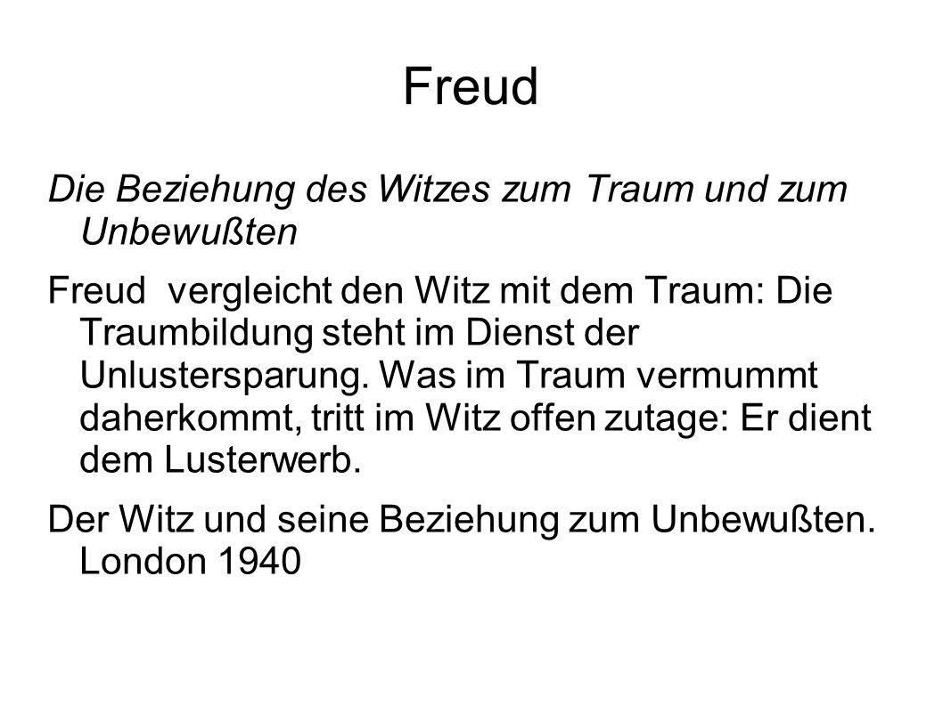 Freud Die Beziehung des Witzes zum Traum und zum Unbewußten