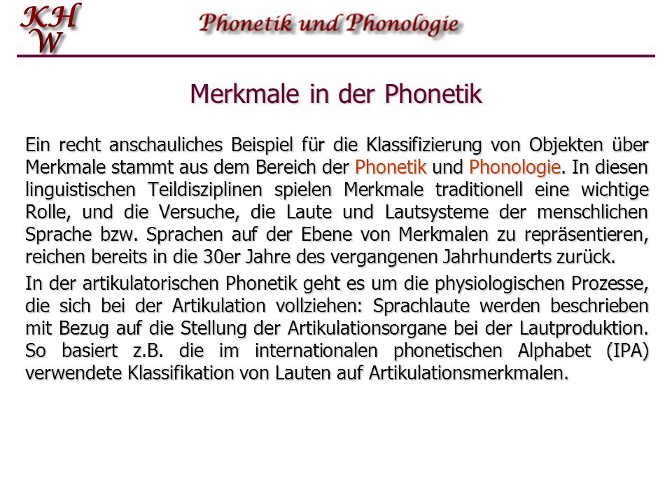 Merkmale in der Phonetik