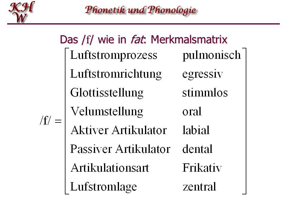 Das /f/ wie in fat: Merkmalsmatrix