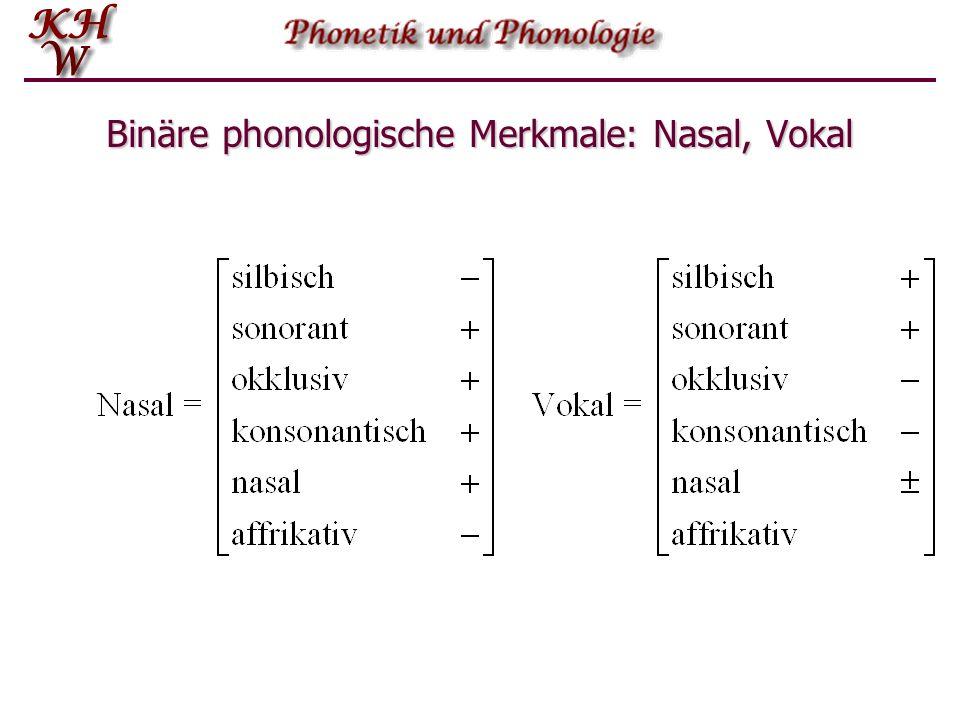 Binäre phonologische Merkmale: Nasal, Vokal