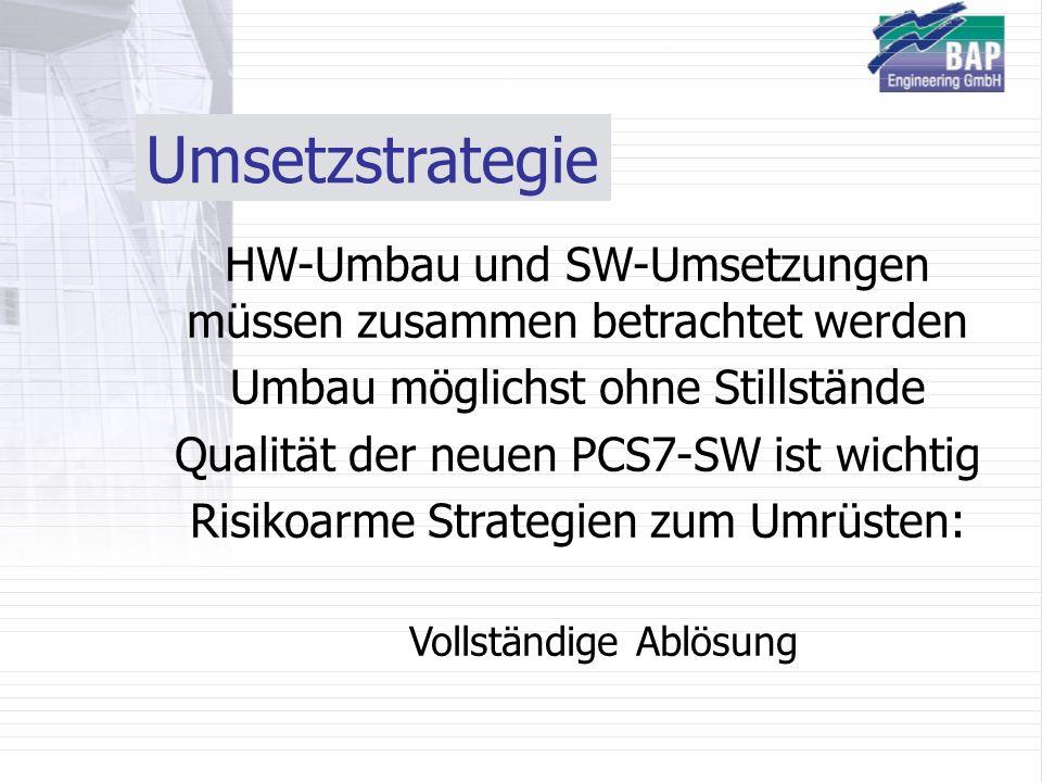 Umsetzstrategie HW-Umbau und SW-Umsetzungen müssen zusammen betrachtet werden. Umbau möglichst ohne Stillstände.
