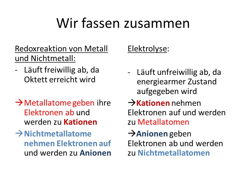 Wir fassen zusammen Redoxreaktion von Metall und Nichtmetall: