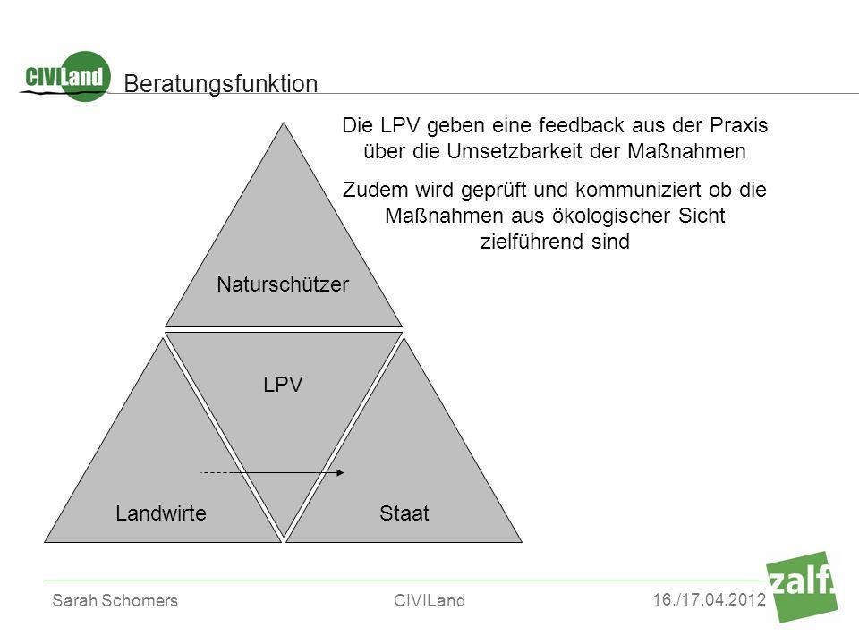 Beratungsfunktion Die LPV geben eine feedback aus der Praxis über die Umsetzbarkeit der Maßnahmen.