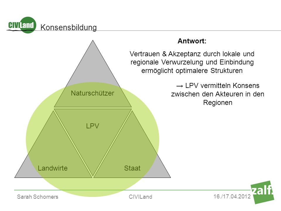 → LPV vermitteln Konsens zwischen den Akteuren in den Regionen