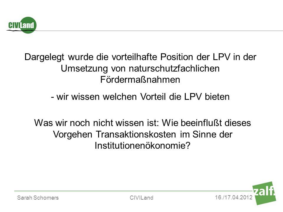 - wir wissen welchen Vorteil die LPV bieten