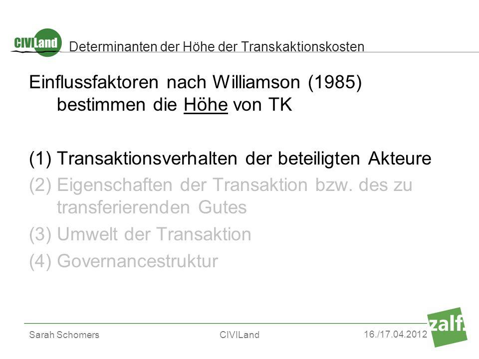 Determinanten der Höhe der Transkaktionskosten