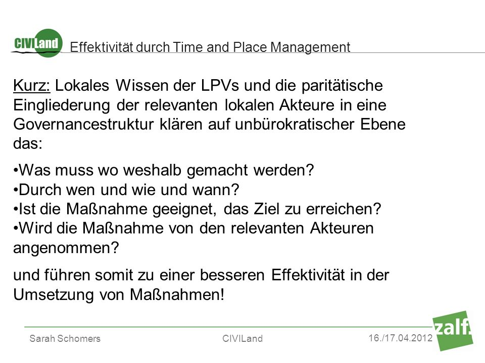 Effektivität durch Time and Place Management