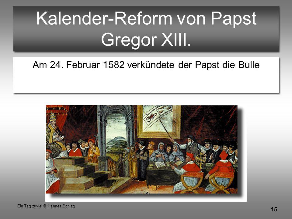 Kalender-Reform von Papst Gregor XIII.