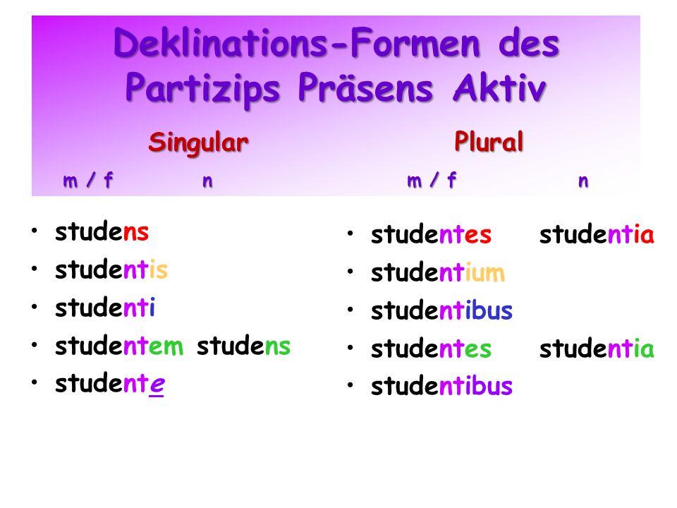 Deklinations-Formen des Partizips Präsens Aktiv