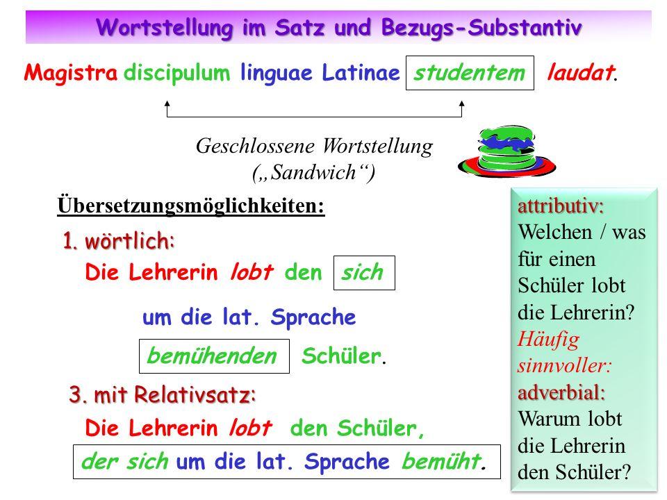Wortstellung im Satz und Bezugs-Substantiv