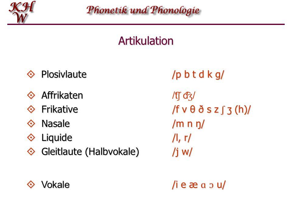 Artikulation Plosivlaute /p b t d k g/ Affrikaten /t͡ʃ d͡ʒ/