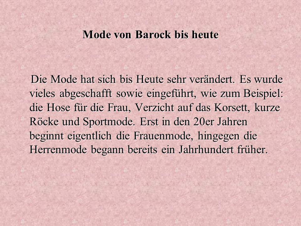 Mode von Barock bis heute