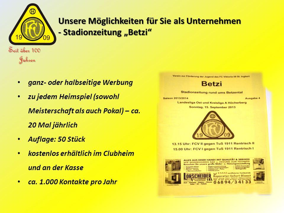 """Unsere Möglichkeiten für Sie als Unternehmen - Stadionzeitung """"Betzi"""