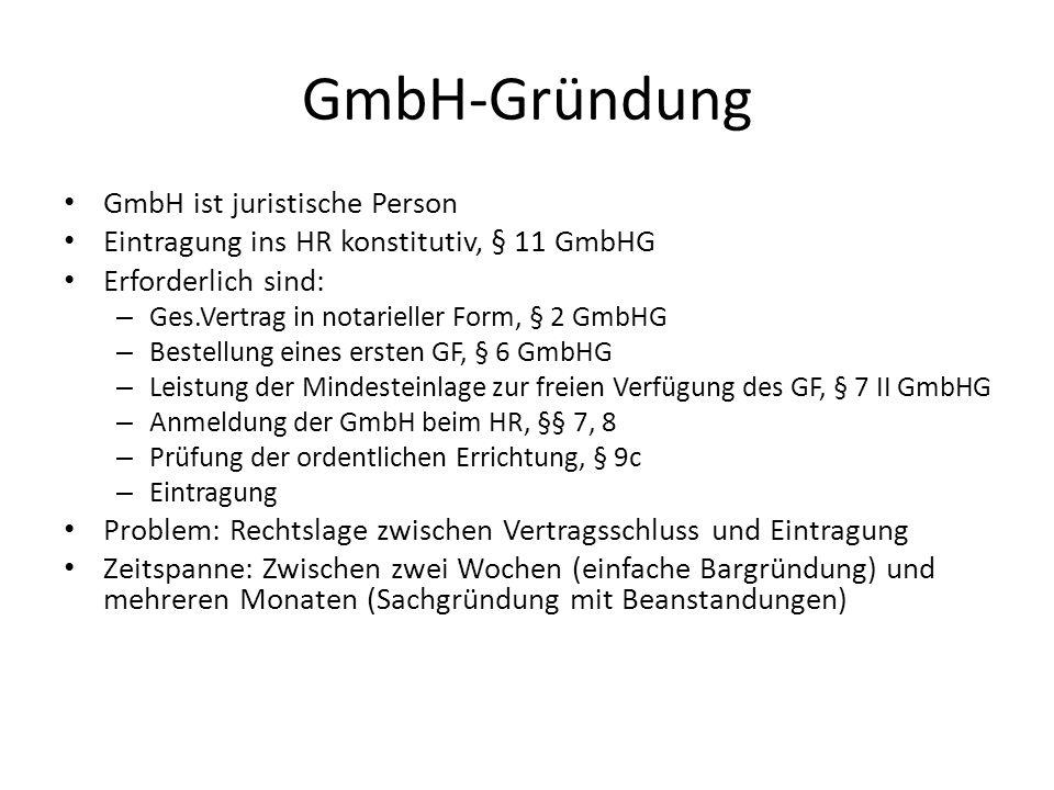 GmbH-Gründung GmbH ist juristische Person