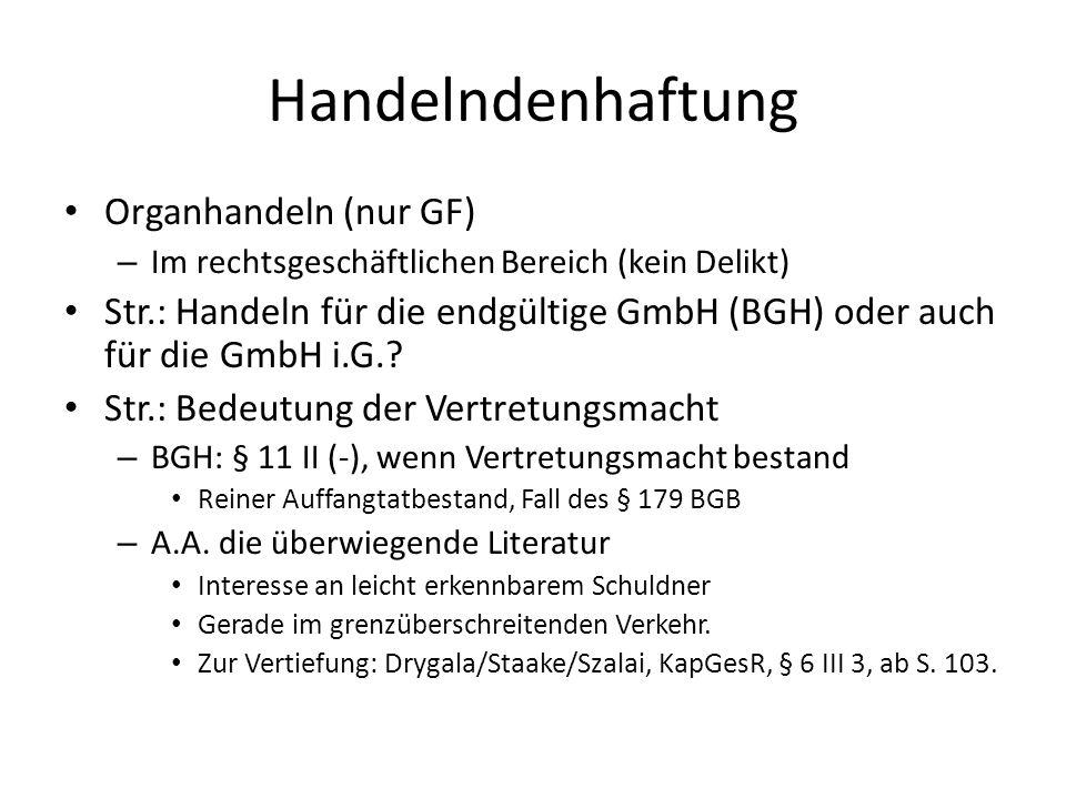 Handelndenhaftung Organhandeln (nur GF)