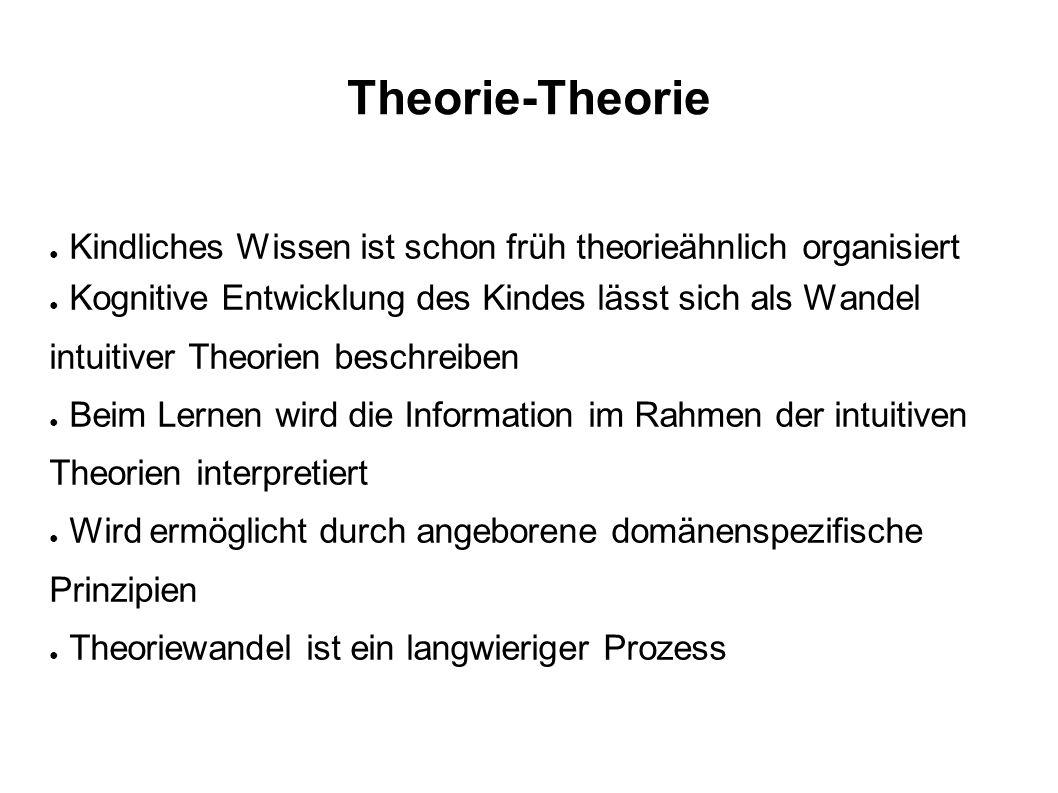 Theorie-Theorie Kindliches Wissen ist schon früh theorieähnlich organisiert.