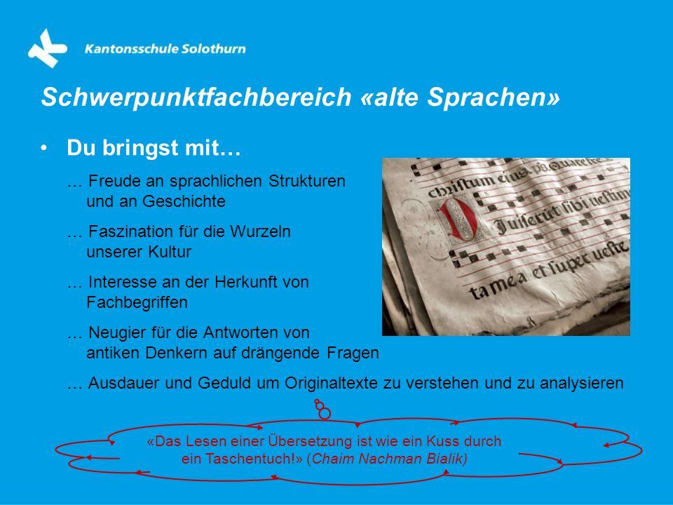 Schwerpunktfachbereich «alte Sprachen»