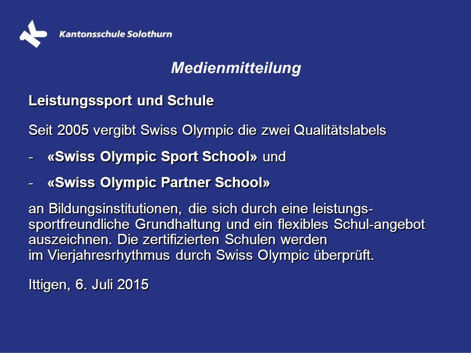 Medienmitteilung Leistungssport und Schule