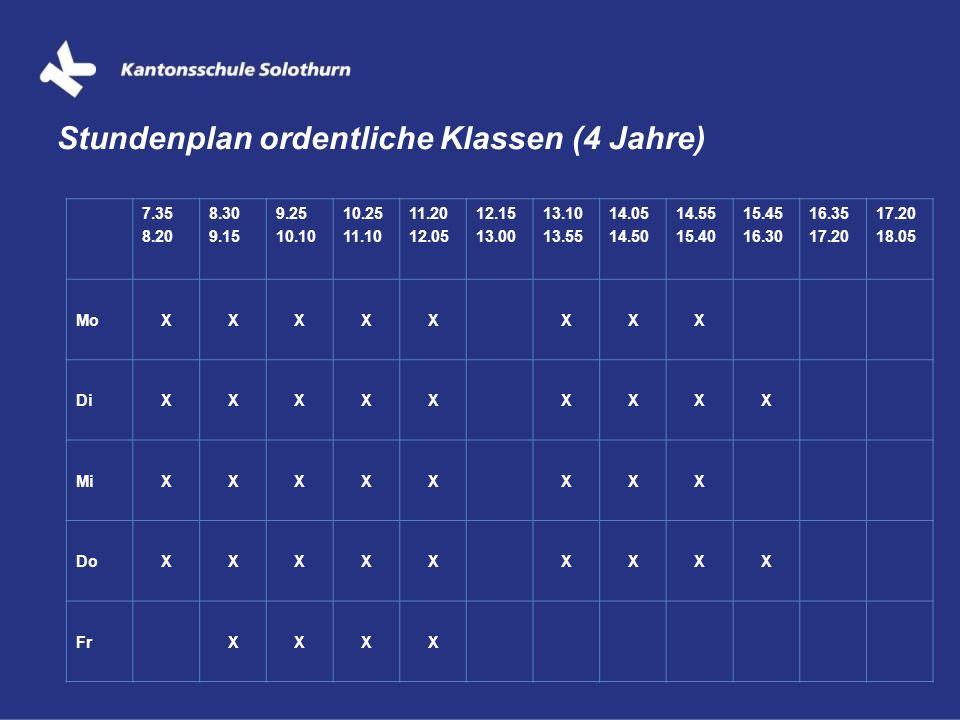 Stundenplan ordentliche Klassen (4 Jahre)