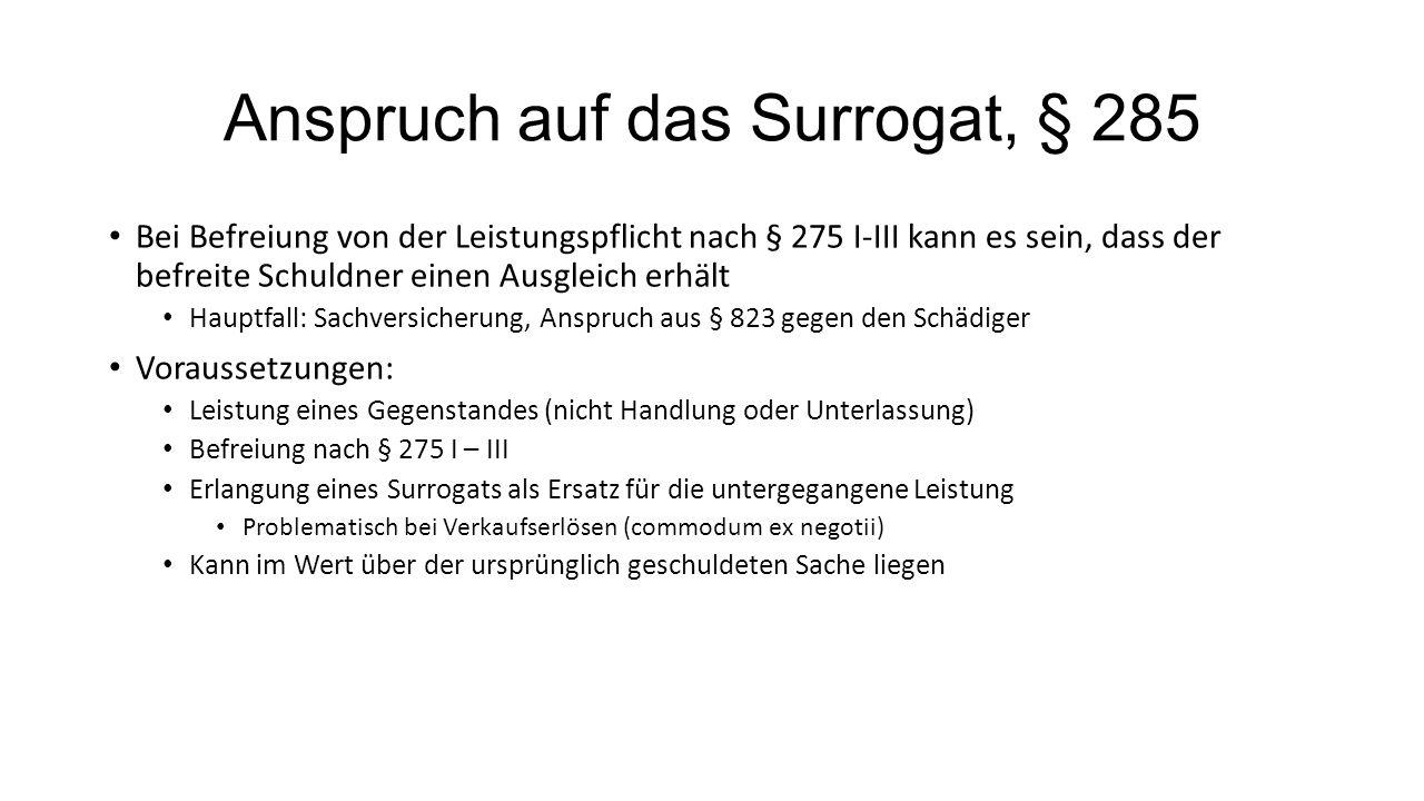 Anspruch auf das Surrogat, § 285