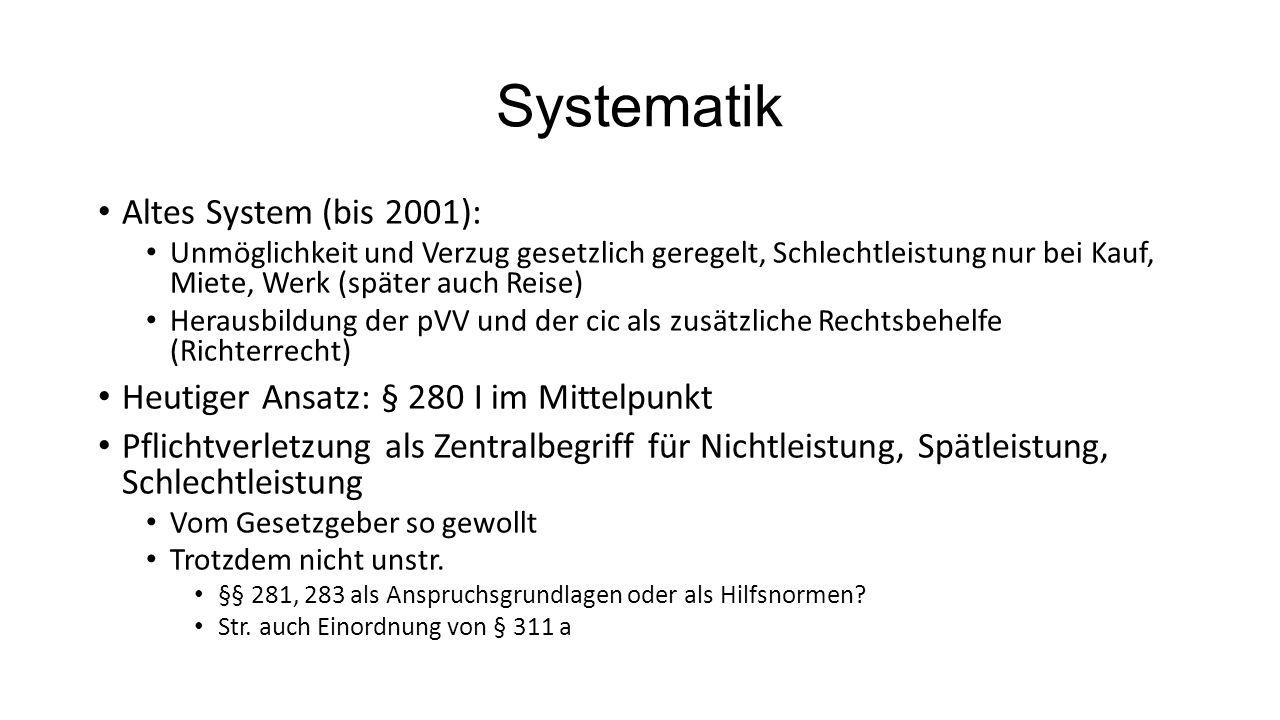 Systematik Altes System (bis 2001):