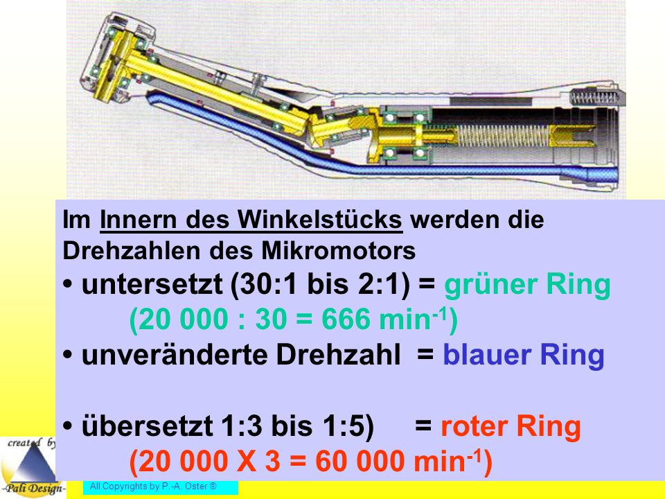 • untersetzt (30:1 bis 2:1) = grüner Ring (20 000 : 30 = 666 min-1)