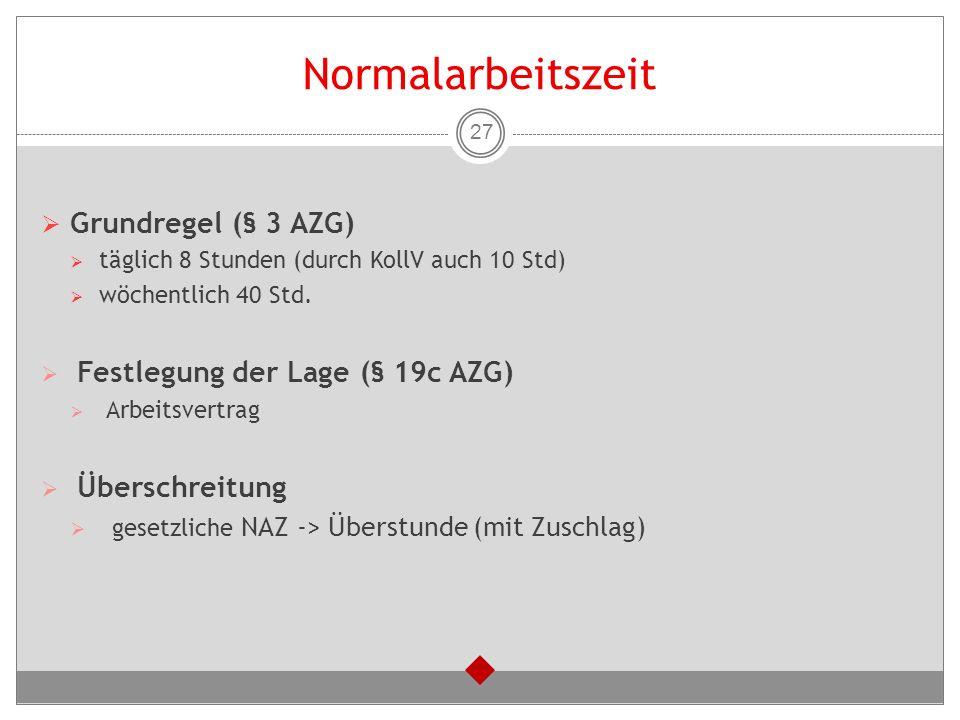 Normalarbeitszeit Grundregel (§ 3 AZG) Festlegung der Lage (§ 19c AZG)