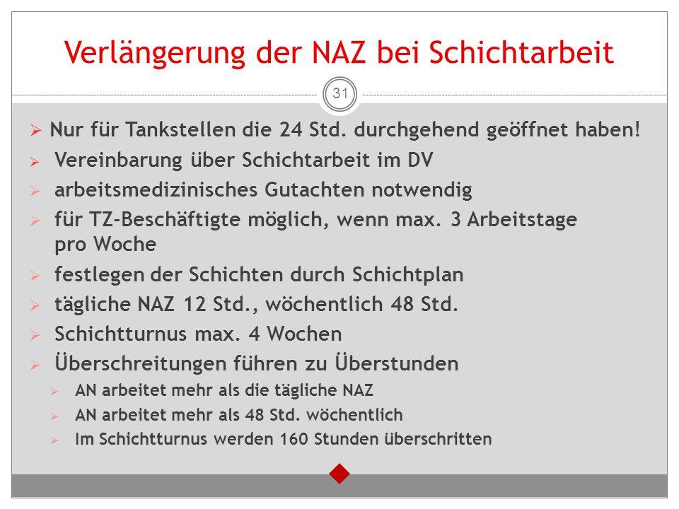 Verlängerung der NAZ bei Schichtarbeit