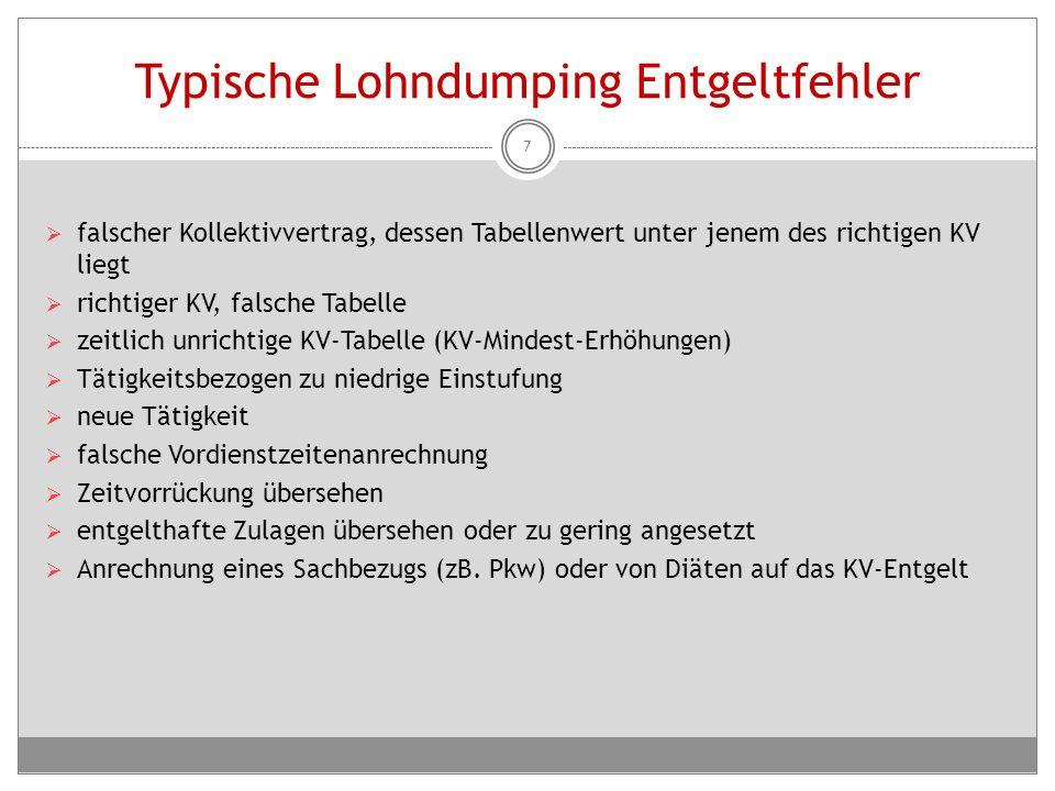 Typische Lohndumping Entgeltfehler