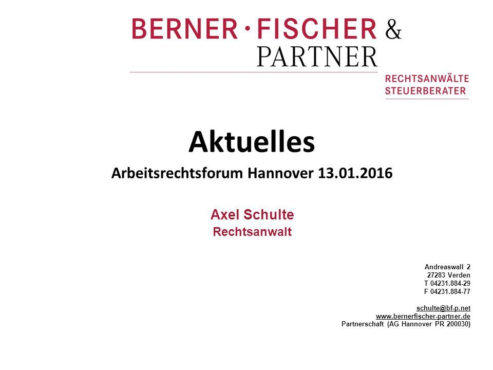 Arbeitsrechtsforum Hannover 13.01.2016