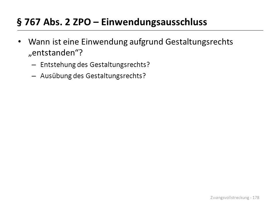 § 767 Abs. 2 ZPO – Einwendungsausschluss
