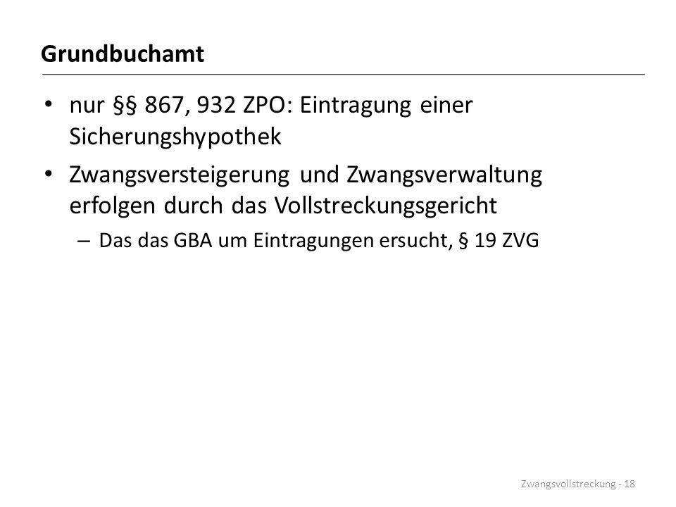 nur §§ 867, 932 ZPO: Eintragung einer Sicherungshypothek