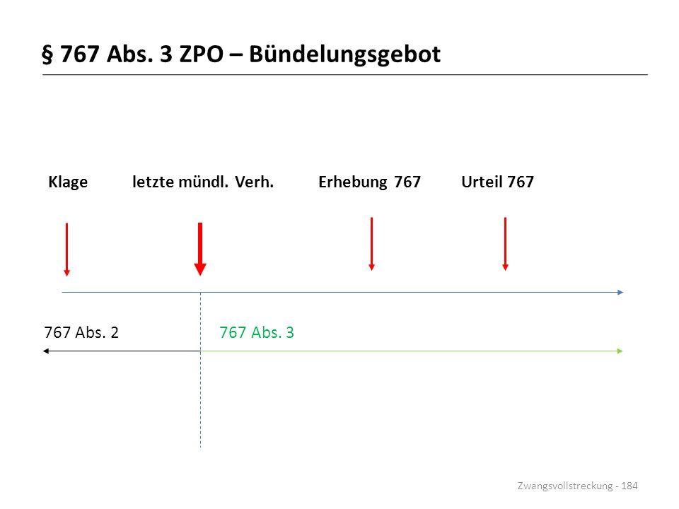 § 767 Abs. 3 ZPO – Bündelungsgebot