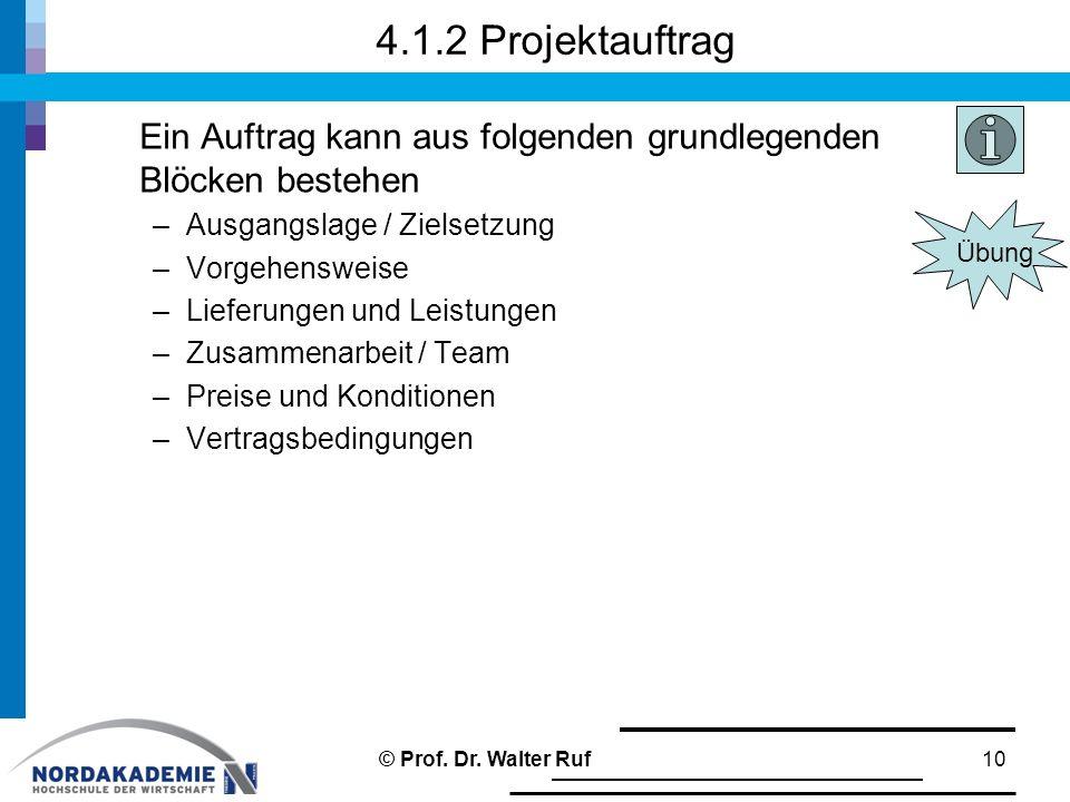 4.1.2 Projektauftrag Ein Auftrag kann aus folgenden grundlegenden Blöcken bestehen. Ausgangslage / Zielsetzung.