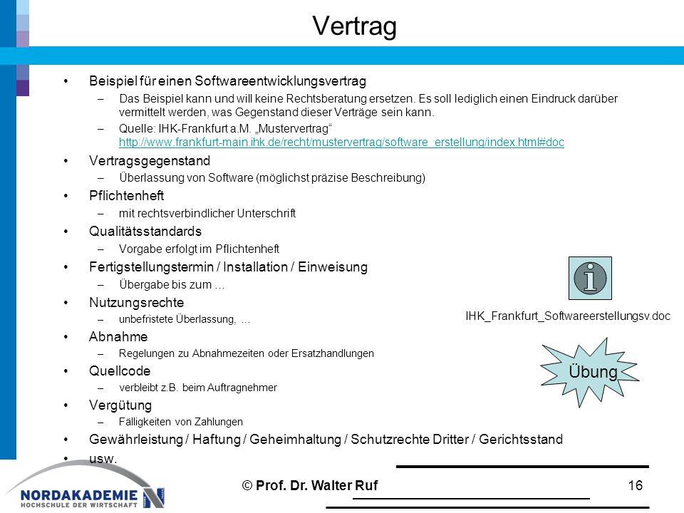 Vertrag Übung Beispiel für einen Softwareentwicklungsvertrag