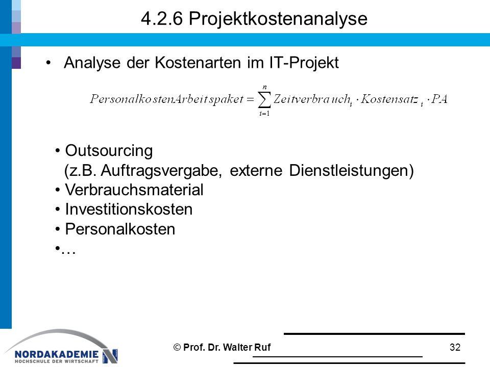 4.2.6 Projektkostenanalyse