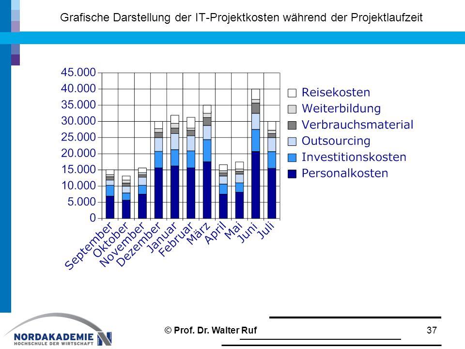 Grafische Darstellung der IT-Projektkosten während der Projektlaufzeit