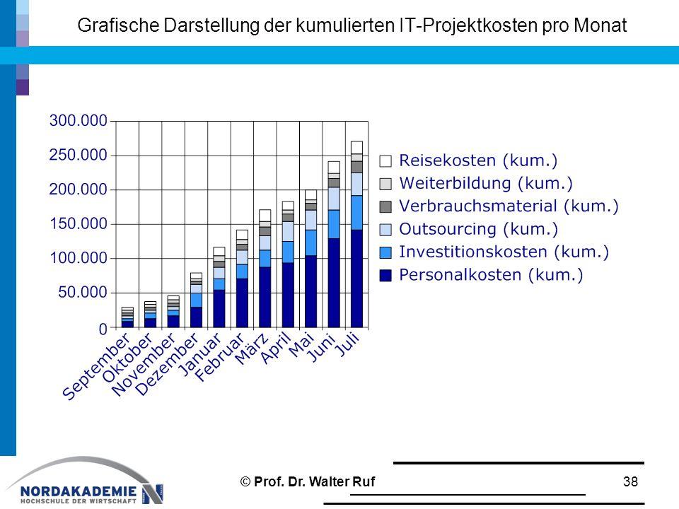 Grafische Darstellung der kumulierten IT-Projektkosten pro Monat