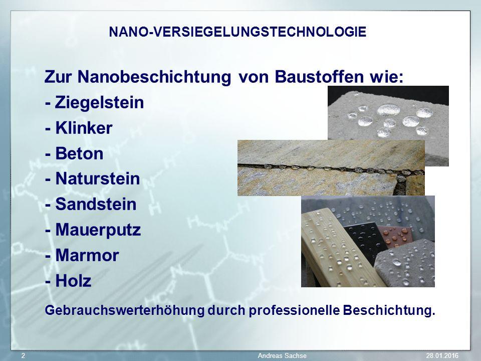 Zur Nanobeschichtung von Baustoffen wie: - Ziegelstein - Klinker