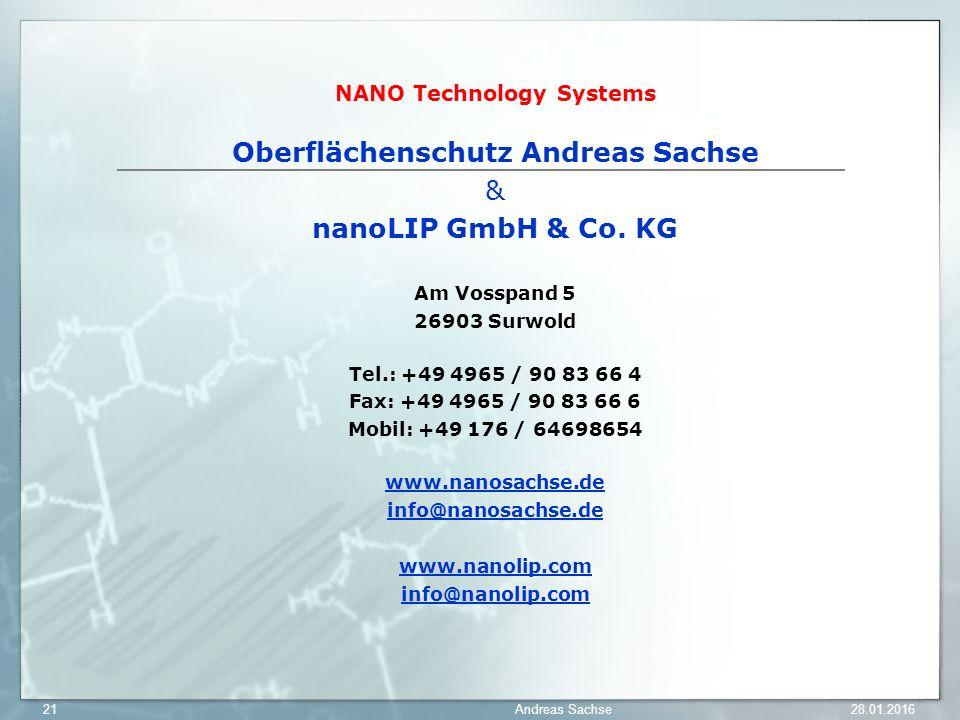 NANO Technology Systems Oberflächenschutz Andreas Sachse