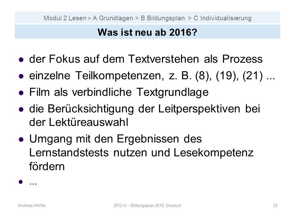 ZPG IV - Bildungsplan 2016, Deutsch