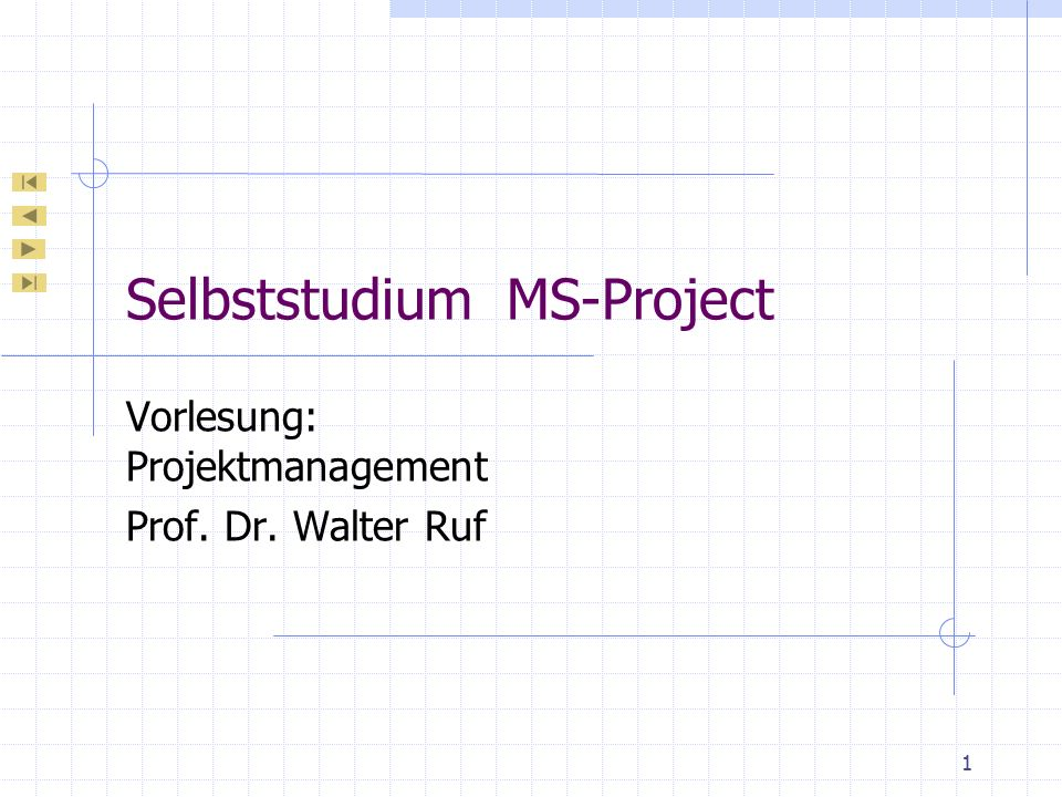 Selbststudium MS-Project