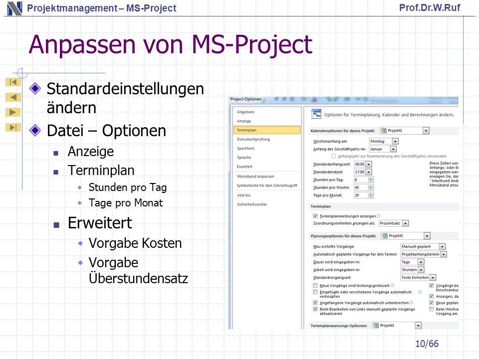 Anpassen von MS-Project