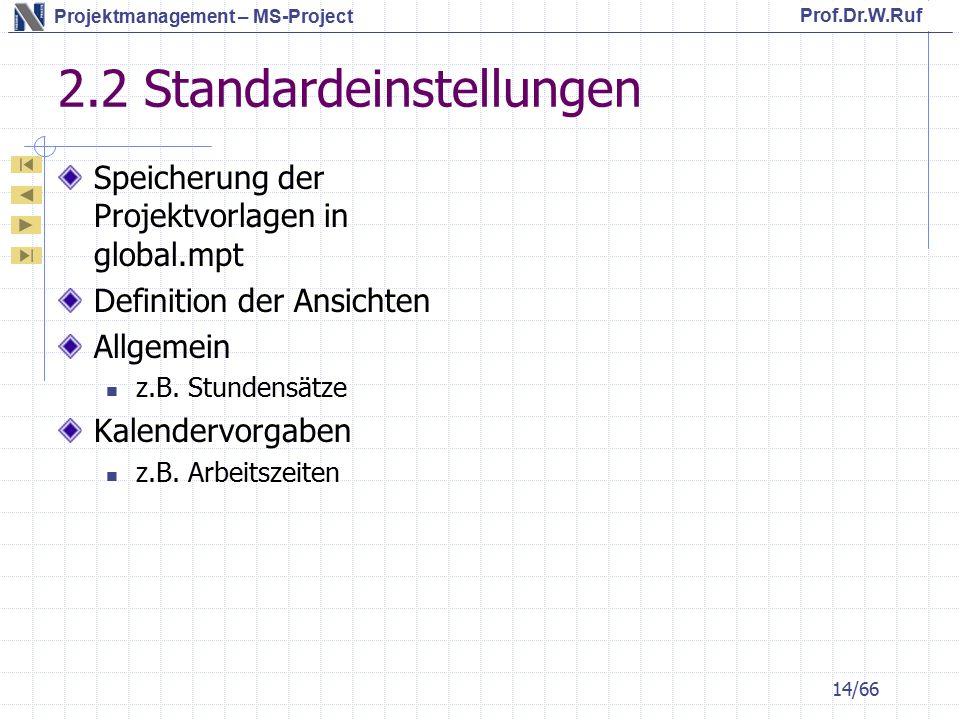 2.2 Standardeinstellungen