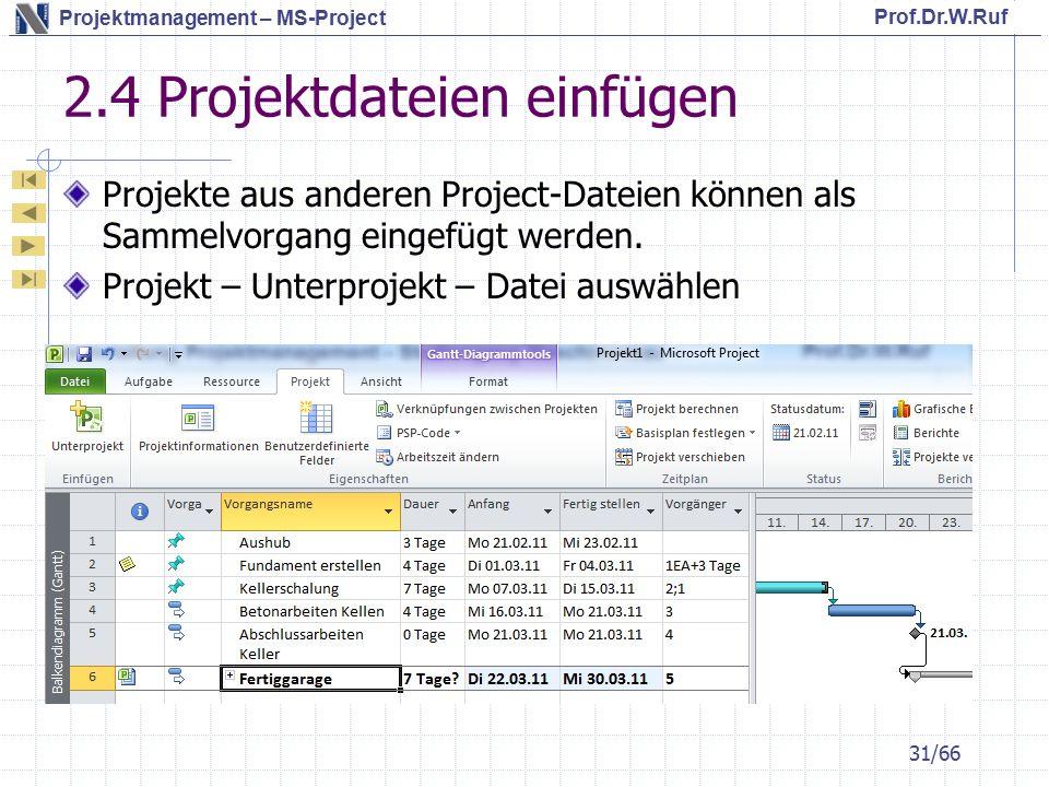 2.4 Projektdateien einfügen